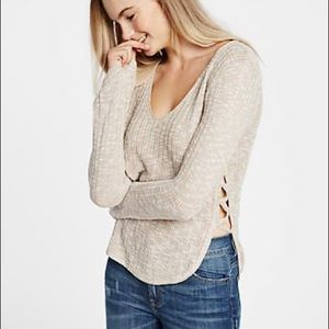Express Lace-Up Side V-Neck Pullover Sweater